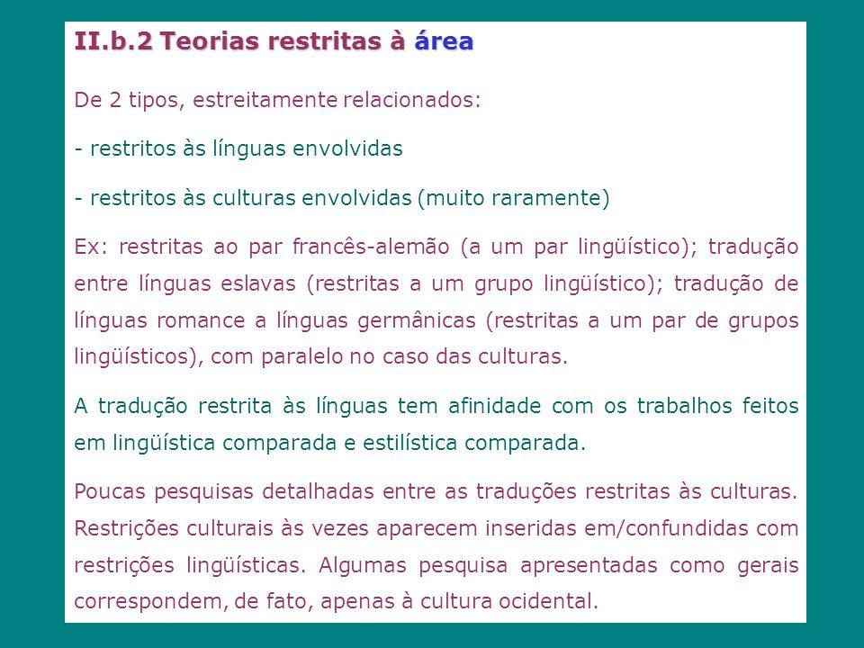 II.b.2 Teorias restritas à área De 2 tipos, estreitamente relacionados: - restritos às línguas envolvidas - restritos às culturas envolvidas (muito ra