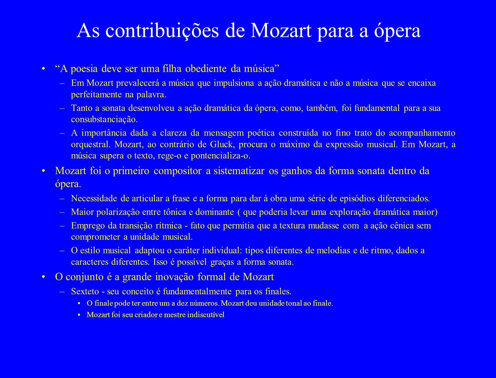 As contribuições de Mozart para a ópera A poesia deve ser uma filha obediente da música –Em Mozart prevalecerá a música que impulsiona a ação dramática e não a música que se encaixa perfeitamente na palavra.