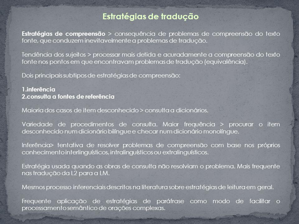 Estratégias de tradução Estratégias de compreensão > consequência de problemas de compreensão do texto fonte, que conduzem inevitavelmente a problemas