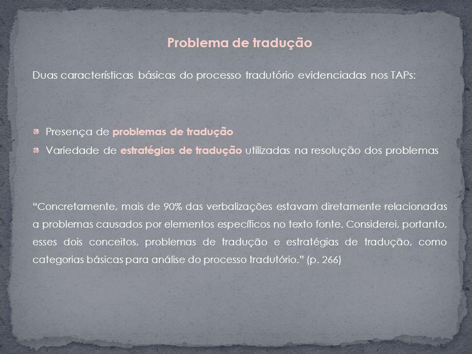 Problema de tradução Duas características básicas do processo tradutório evidenciadas nos TAPs: Presença de problemas de tradução Variedade de estraté