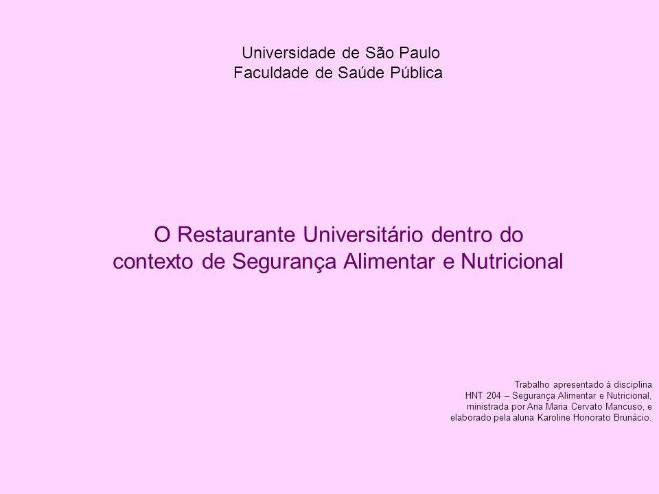 Universidade de São Paulo Faculdade de Saúde Pública O Restaurante Universitário dentro do contexto de Segurança Alimentar e Nutricional Trabalho apre