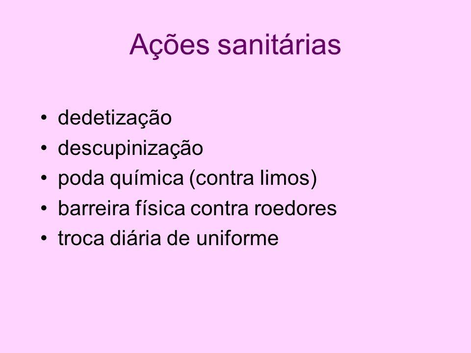 Ações sanitárias dedetização descupinização poda química (contra limos) barreira física contra roedores troca diária de uniforme
