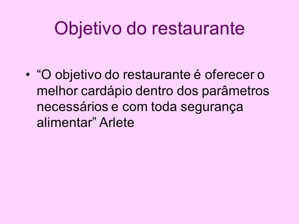Objetivo do restaurante O objetivo do restaurante é oferecer o melhor cardápio dentro dos parâmetros necessários e com toda segurança alimentar Arlete