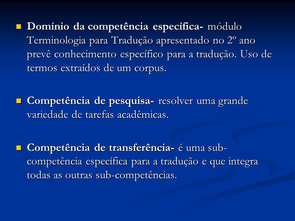 Domínio da competência específica- módulo Terminologia para Tradução apresentado no 2º ano prevê conhecimento específico para a tradução. Uso de termo