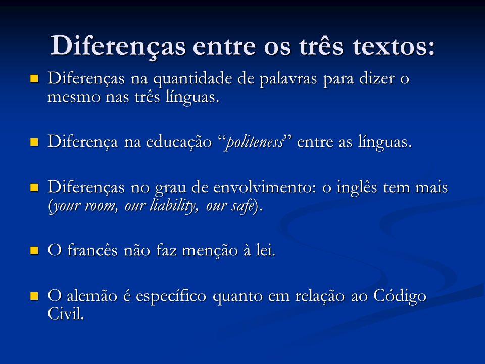Diferenças entre os três textos: Diferenças na quantidade de palavras para dizer o mesmo nas três línguas. Diferenças na quantidade de palavras para d
