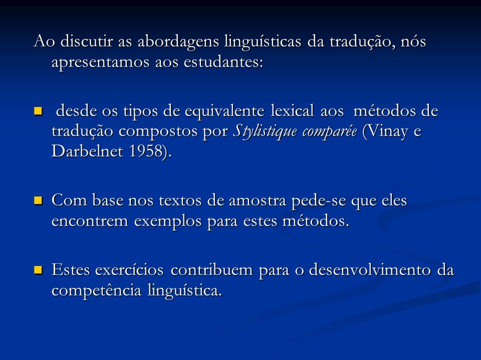 Ao discutir as abordagens linguísticas da tradução, nós apresentamos aos estudantes: desde os tipos de equivalente lexical aos métodos de tradução com