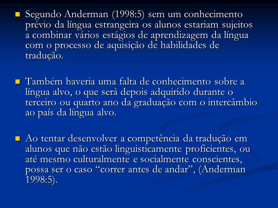 Segundo Anderman (1998:5) sem um conhecimento prévio da língua estrangeira os alunos estariam sujeitos a combinar vários estágios de aprendizagem da l