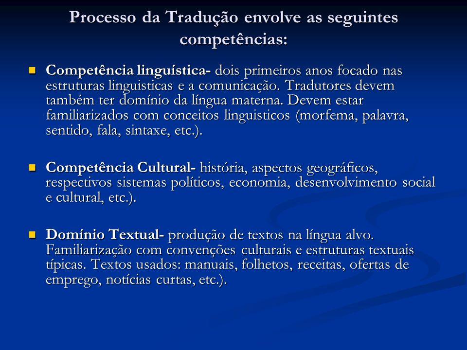 Processo da Tradução envolve as seguintes competências: Competência linguística- dois primeiros anos focado nas estruturas linguisticas e a comunicaçã