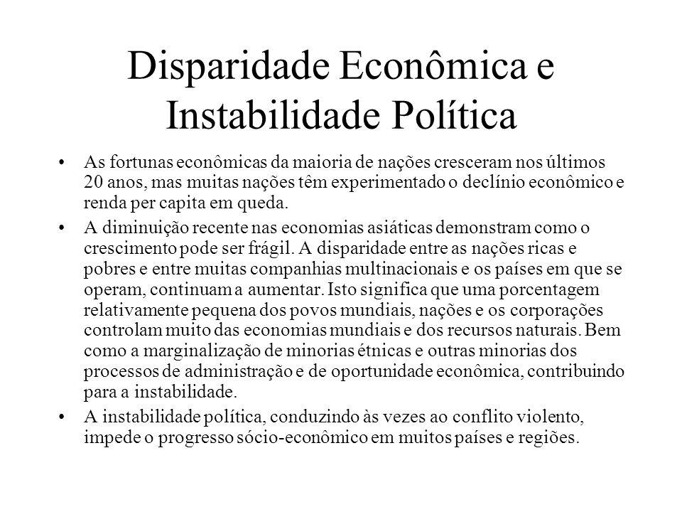 Disparidade Econômica e Instabilidade Política As fortunas econômicas da maioria de nações cresceram nos últimos 20 anos, mas muitas nações têm experi