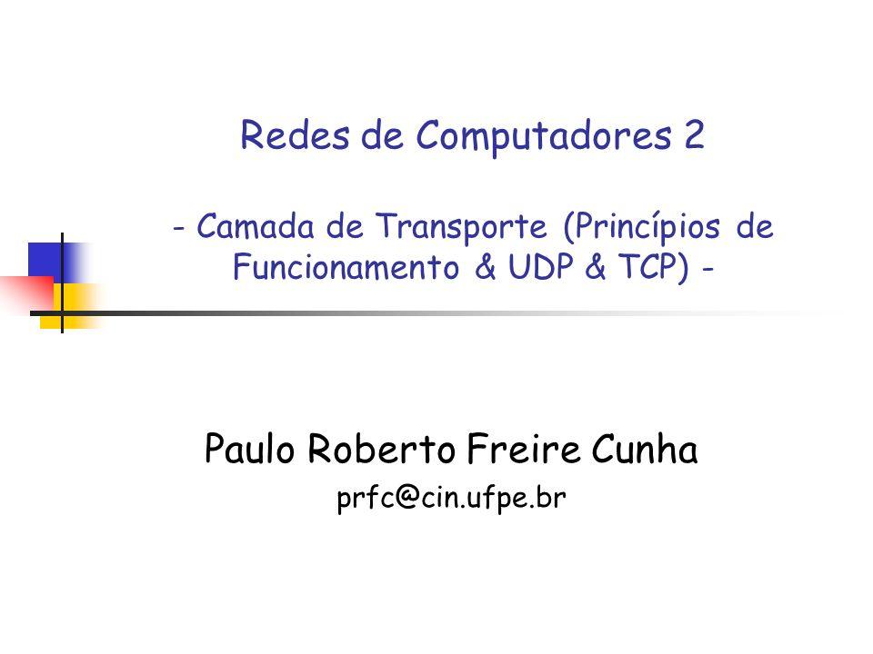 Redes de Computadores 2 (baseado nos slides do Kurose) Princípios de Transferência Confiável de Dados Transmissor receptor udt_send(): chamada por rdt para transferência em um canal não-confiável rdt_send(): chamada da aplicação deliver_data(): chamada por rdt para enviar o dado para aplicação Canal NÃO-Confiável Protocolo Confiável (emissor) Protocolo Confiável (receptor) Dado udt_send() rdt_send() Pacote rdt_rcv() deliver_data() Dado rdt_rcv(): chamado quando o pacote chega ao receptor
