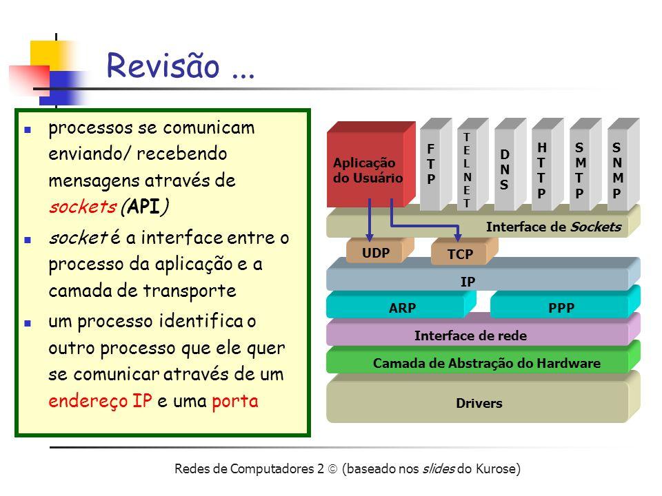Redes de Computadores 2 (baseado nos slides do Kurose) UDP – User Datagram Protocol RFC 768 tipo de serviço fornecido à camada de aplicação melhor esforço perda de pacotes pacotes fora de ordem sem-conexão não há um estabelecimento inicial (handshake) da conexão cada pacote é tratado de forma independente benefícios do uso do UDP o handshake (como no TCP) pode causar atrasos simplicidade (não mantém o estado da conexão no cliente/servidor) cabeçalho de dados pequeno (TCP –20) ausência de controle de congestionamento