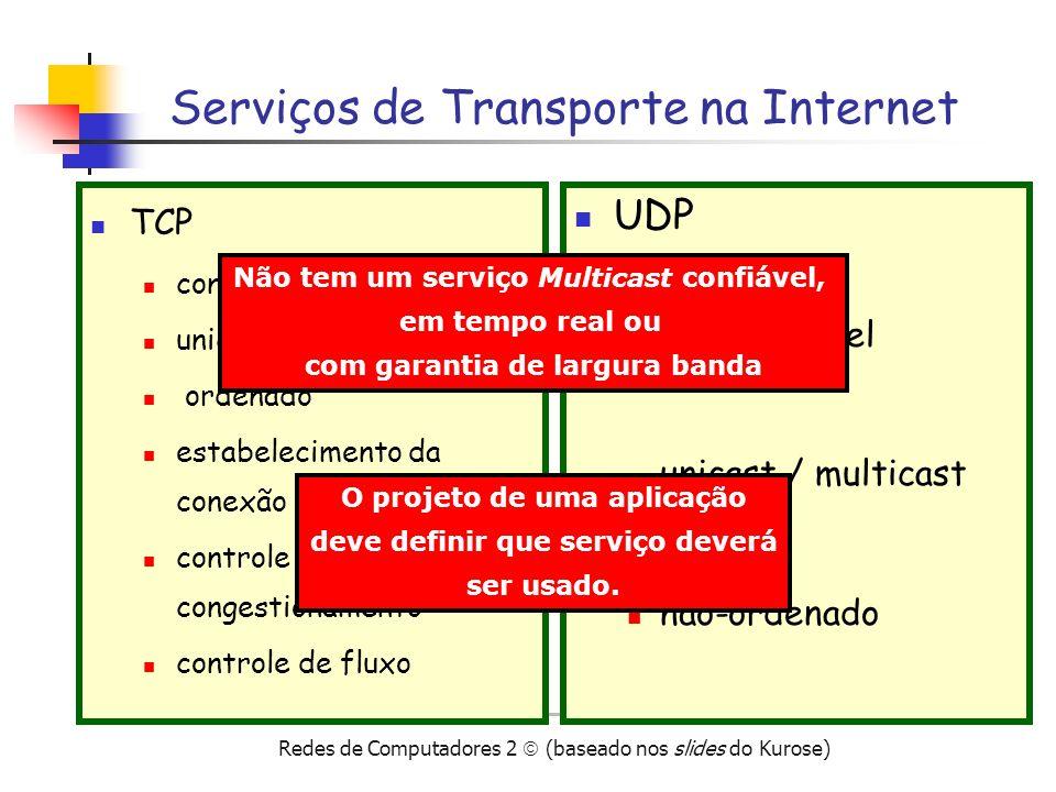 Redes de Computadores 2 (baseado nos slides do Kurose) Checksum UDP Transmissor calcula o checksum trata todo o datagrama como seqüência de 16 bits soma todas as seqüência calcula o complemento Receptor soma todas as seqüências de 16 bits do datagrama se a soma for 11111111, então OK se a soma contiver um 0, então ERRO Objetivo: Detectar erros nos dados transmitidos