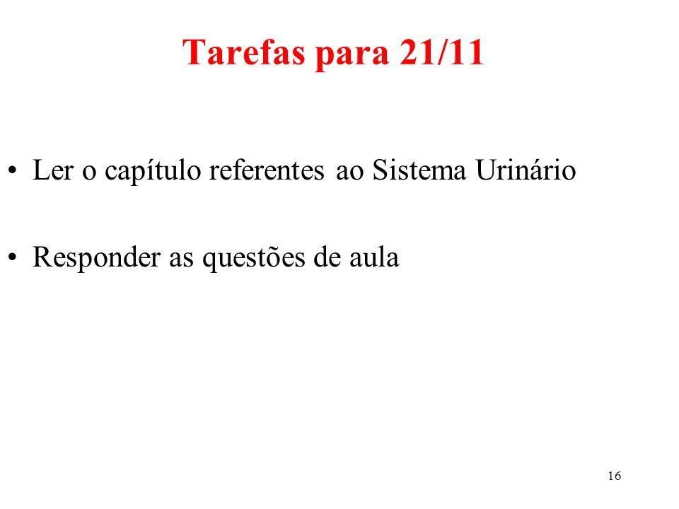 16 Ler o capítulo referentes ao Sistema Urinário Responder as questões de aula Tarefas para 21/11