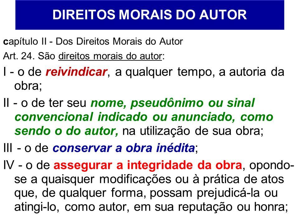 DIREITOS MORAIS DO AUTOR capítulo II - Dos Direitos Morais do Autor Art. 24. São direitos morais do autor: I - o de reivindicar, a qualquer tempo, a a