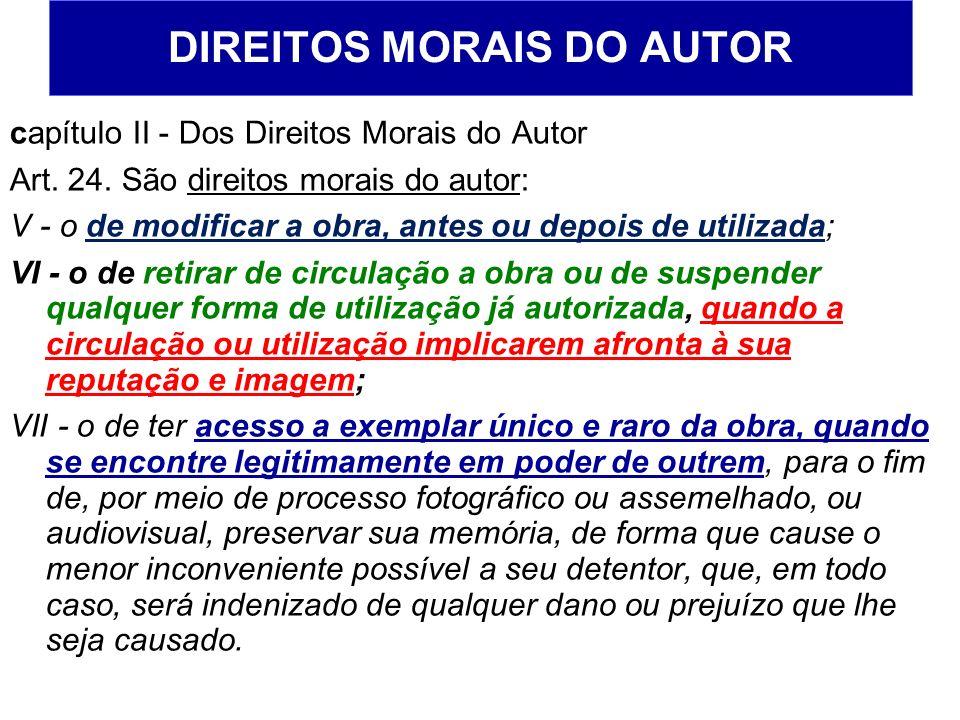 DIREITOS MORAIS DO AUTOR capítulo II - Dos Direitos Morais do Autor Art. 24. São direitos morais do autor: V - o de modificar a obra, antes ou depois
