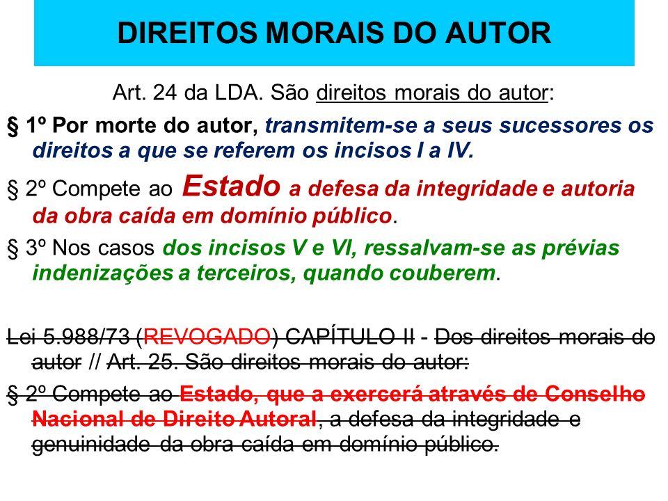 DIREITOS MORAIS DO AUTOR Art. 24 da LDA. São direitos morais do autor: § 1º Por morte do autor, transmitem-se a seus sucessores os direitos a que se r