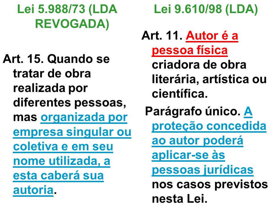 Lei 5.988/73 (LDA REVOGADA) Art. 15. Quando se tratar de obra realizada por diferentes pessoas, mas organizada por empresa singular ou coletiva e em s