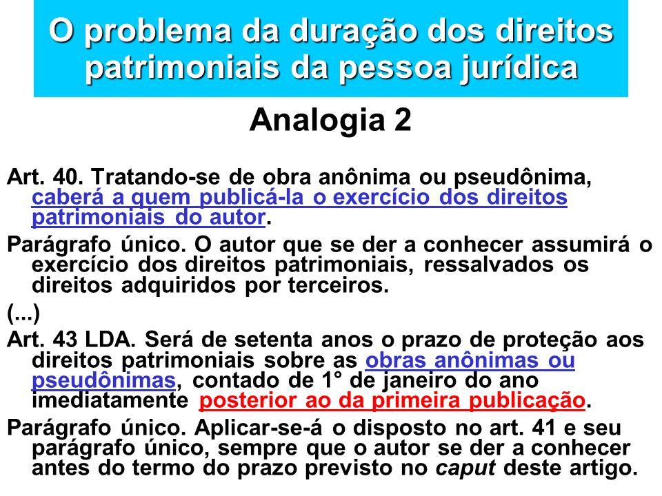 O problema da duração dos direitos patrimoniais da pessoa jurídica Analogia 2 Art. 40. Tratando-se de obra anônima ou pseudônima, caberá a quem public