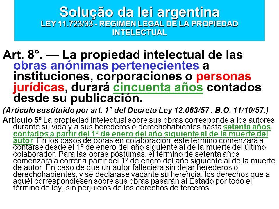Solução da lei argentina LEY 11.723/33 - REGIMEN LEGAL DE LA PROPIEDAD INTELECTUAL Art. 8°. La propiedad intelectual de las obras anónimas pertenecien