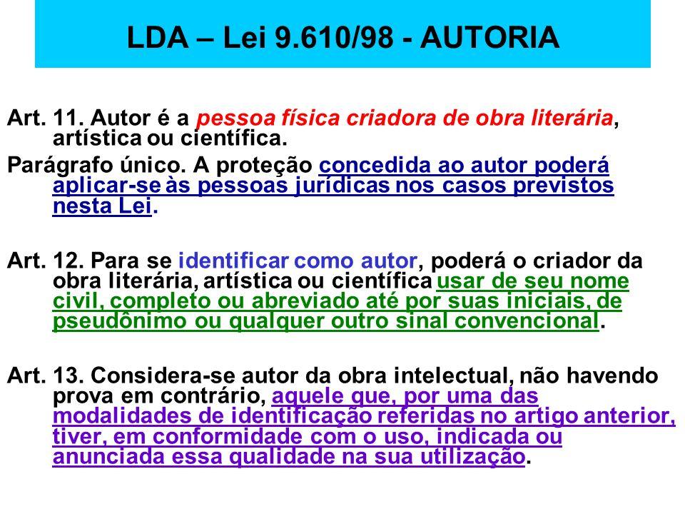 LDA – Lei 9.610/98 - AUTORIA Art. 11. Autor é a pessoa física criadora de obra literária, artística ou científica. Parágrafo único. A proteção concedi