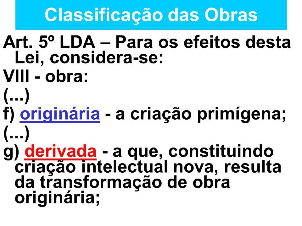 Classificação das Obras Art. 5º LDA – Para os efeitos desta Lei, considera-se: VIII - obra: (...) f) originária - a criação primígena; (...) g) deriva