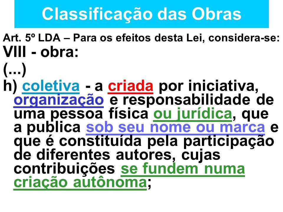 Classificação das Obras Art. 5º LDA – Para os efeitos desta Lei, considera-se: VIII - obra: (...) h) coletiva - a criada por iniciativa, organização e