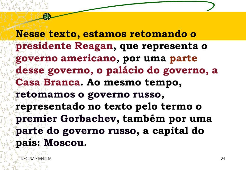 REGINA FIANDRA24 Nesse texto, estamos retomando o presidente Reagan, que representa o governo americano, por uma parte desse governo, o palácio do gov