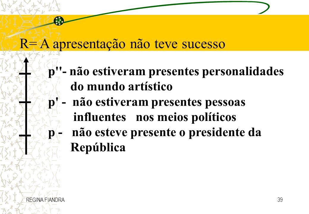 REGINA FIANDRA39 R= A apresentação não teve sucesso p''- não estiveram presentes personalidades do mundo artístico p' - não estiveram presentes pessoa
