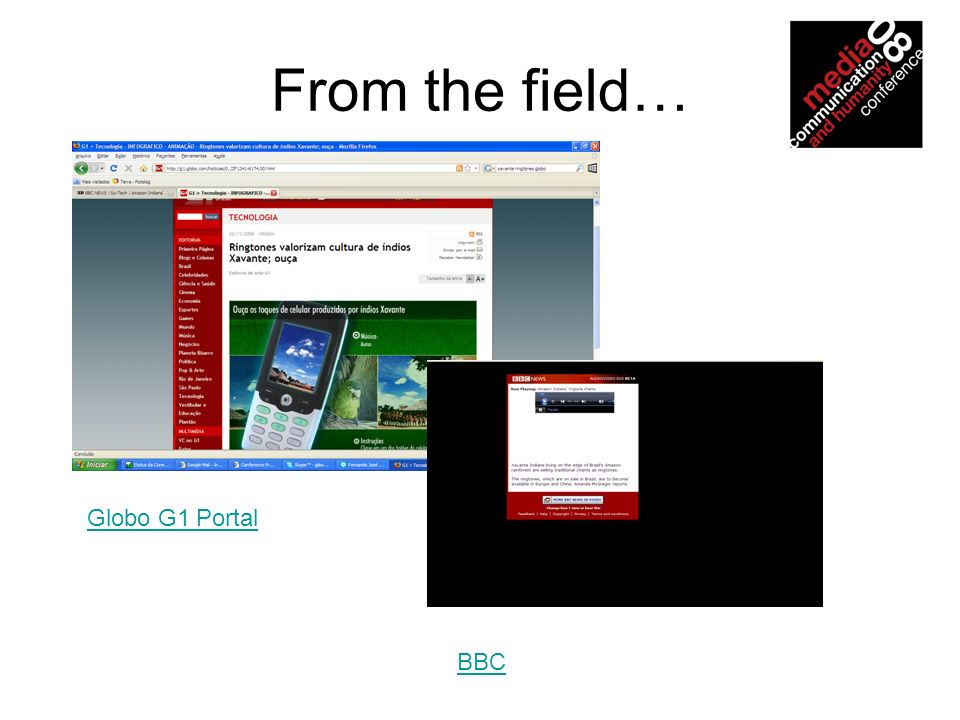 From the field… BBC Globo G1 Portal