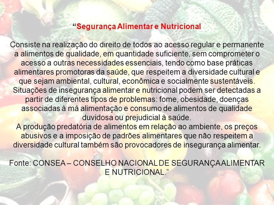 Segurança Alimentar e Nutricional Consiste na realização do direito de todos ao acesso regular e permanente a alimentos de qualidade, em quantidade su