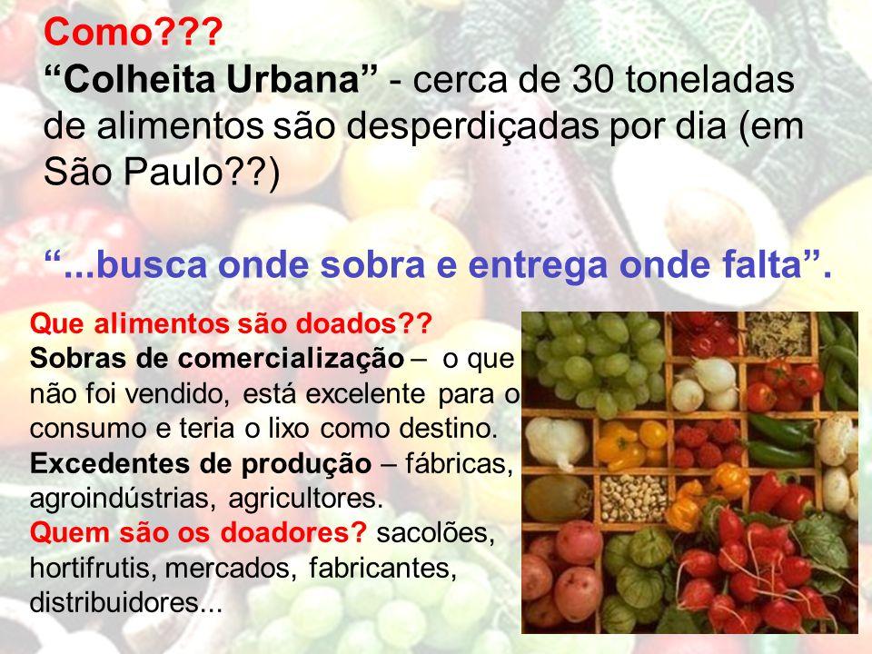 Como??? Colheita Urbana - cerca de 30 toneladas de alimentos são desperdiçadas por dia (em São Paulo??)...busca onde sobra e entrega onde falta. Que a