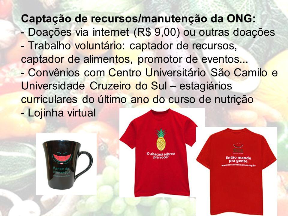 Captação de recursos/manutenção da ONG: - Doações via internet (R$ 9,00) ou outras doações - Trabalho voluntário: captador de recursos, captador de al