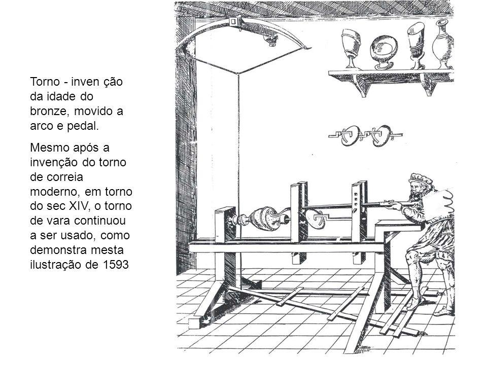 Torno - inven ção da idade do bronze, movido a arco e pedal. Mesmo após a invenção do torno de correia moderno, em torno do sec XIV, o torno de vara c