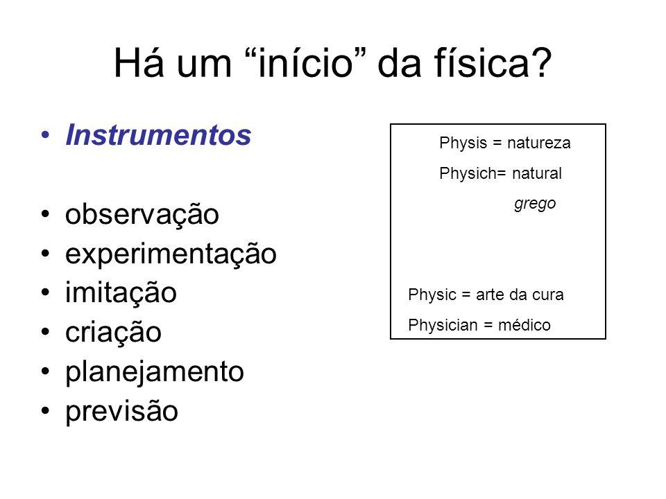 Há um início da física? Instrumentos observação experimentação imitação criação planejamento previsão Physis = natureza Physich= natural grego Physic