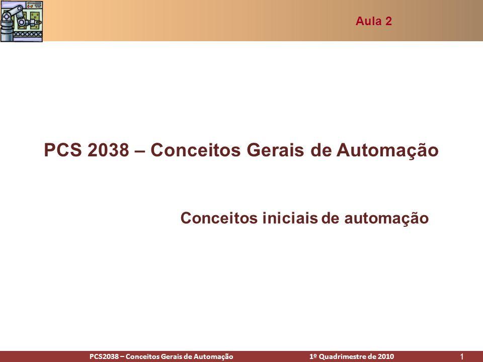 PCS2938 – Conceitos Gerais de Automação 1º Quadrimestre de 2009PCS2038 – Conceitos Gerais de Automação 1º Quadrimestre de 2010 1 PCS 2038 – Conceitos Gerais de Automação Conceitos iniciais de automação Aula 2