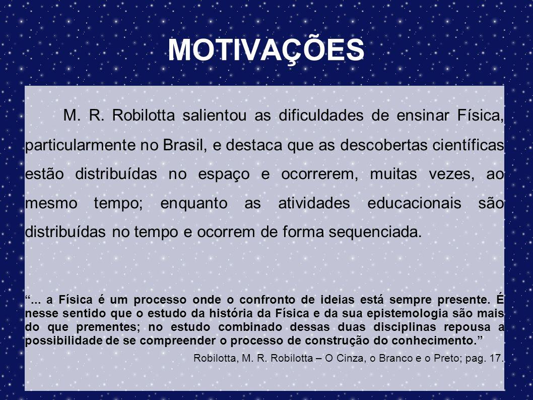 MOTIVAÇÕES M. R. Robilotta salientou as dificuldades de ensinar Física, particularmente no Brasil, e destaca que as descobertas científicas estão dist