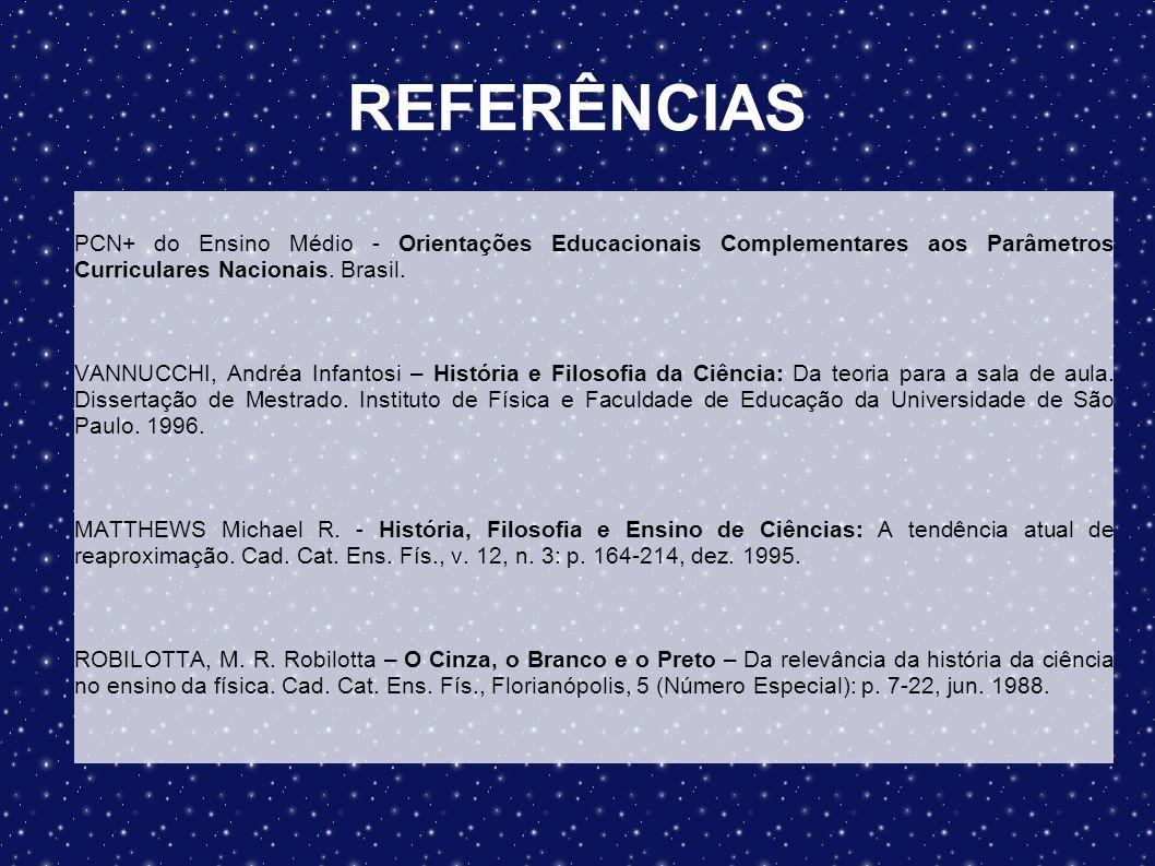 REFERÊNCIAS PCN+ do Ensino Médio - Orientações Educacionais Complementares aos Parâmetros Curriculares Nacionais. Brasil. VANNUCCHI, Andréa Infantosi