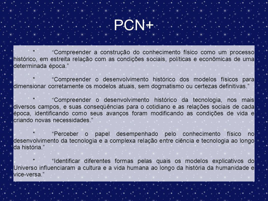 PCN+ *Compreender a construção do conhecimento físico como um processo histórico, em estreita relação com as condições sociais, políticas e econômicas