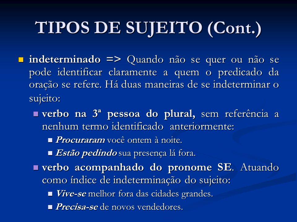 TIPOS DE SUJEITO (Cont.) oração sem sujeito (inexistente) => Formada apenas por predicados, nos quais aparecem verbos impessoais.