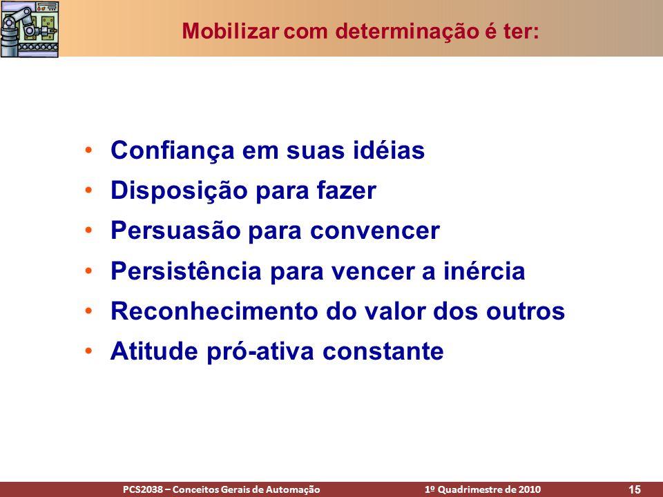 PCS2038 – Conceitos Gerais de Automação 1º Quadrimestre de 2010 15 Confiança em suas idéias Disposição para fazer Persuasão para convencer Persistênci