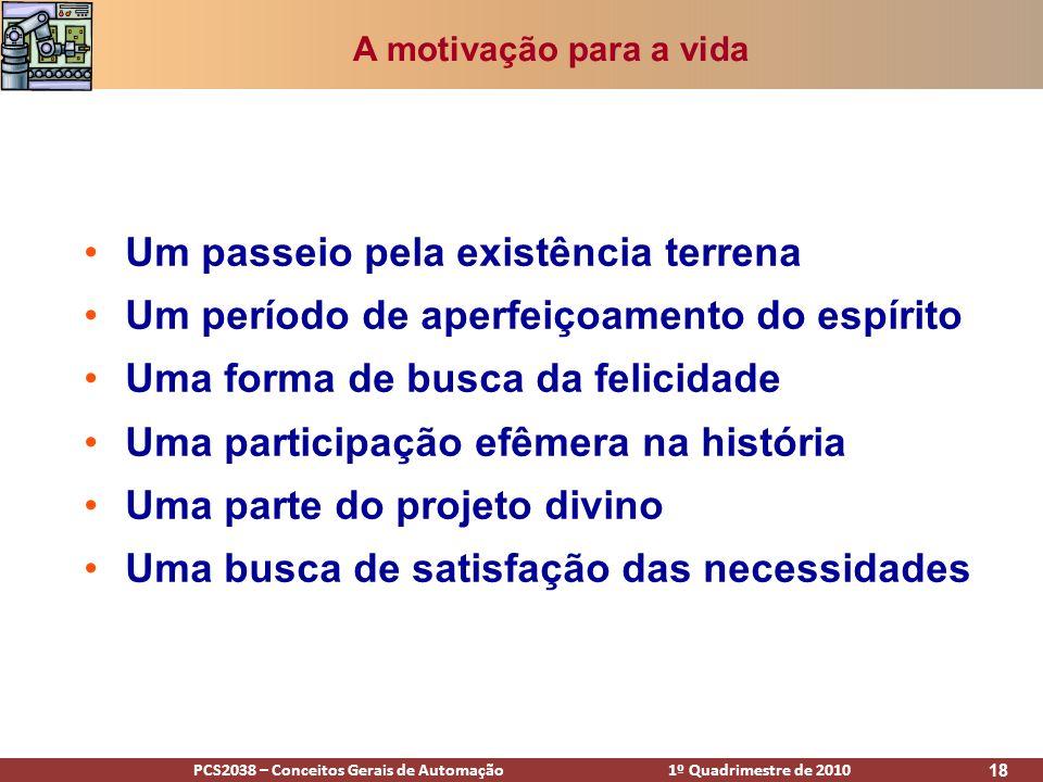 PCS2038 – Conceitos Gerais de Automação 1º Quadrimestre de 2010 18 A motivação para a vida Um passeio pela existência terrena Um período de aperfeiçoa