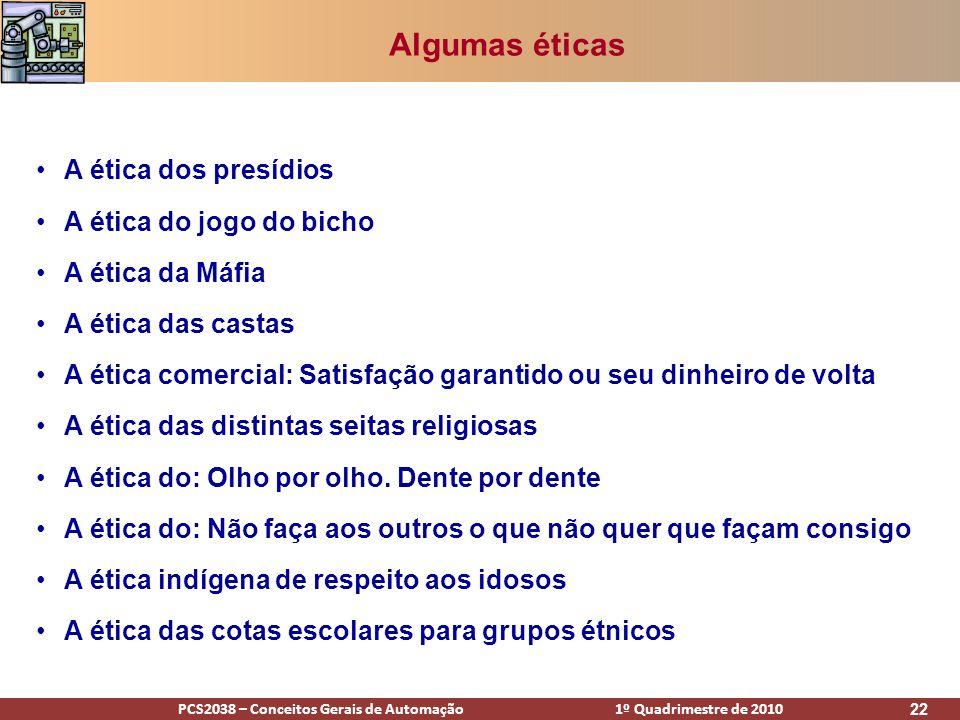 PCS2038 – Conceitos Gerais de Automação 1º Quadrimestre de 2010 22 Algumas éticas A ética dos presídios A ética do jogo do bicho A ética da Máfia A ét