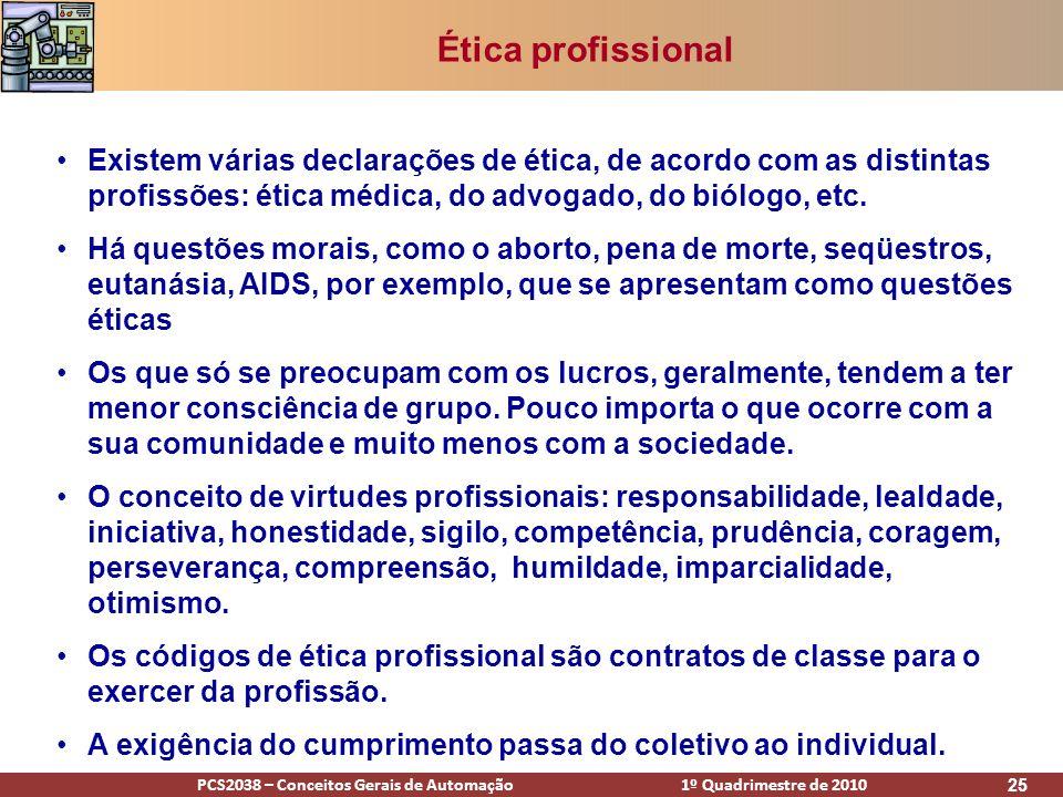 PCS2038 – Conceitos Gerais de Automação 1º Quadrimestre de 2010 25 Ética profissional Existem várias declarações de ética, de acordo com as distintas