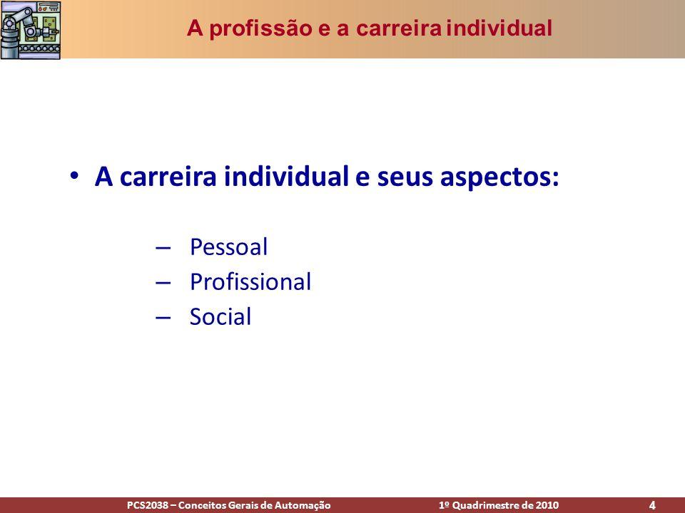PCS2038 – Conceitos Gerais de Automação 1º Quadrimestre de 2010 4 A carreira individual e seus aspectos: – Pessoal – Profissional – Social A profissão