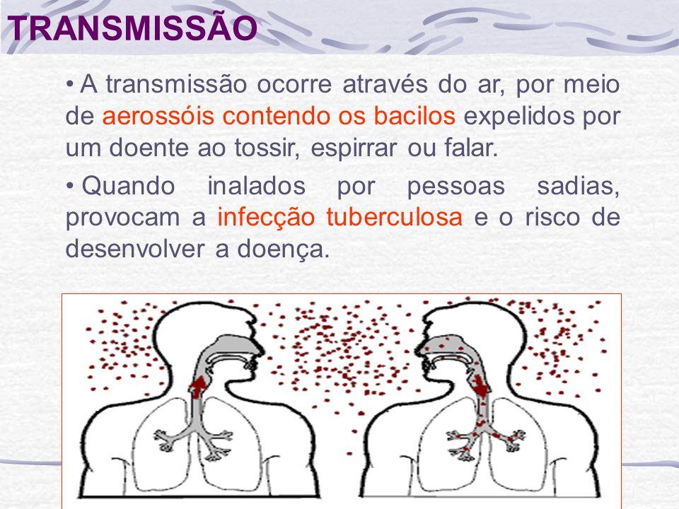 TRANSMISSÃO A transmissão ocorre através do ar, por meio de aerossóis contendo os bacilos expelidos por um doente ao tossir, espirrar ou falar. Quando