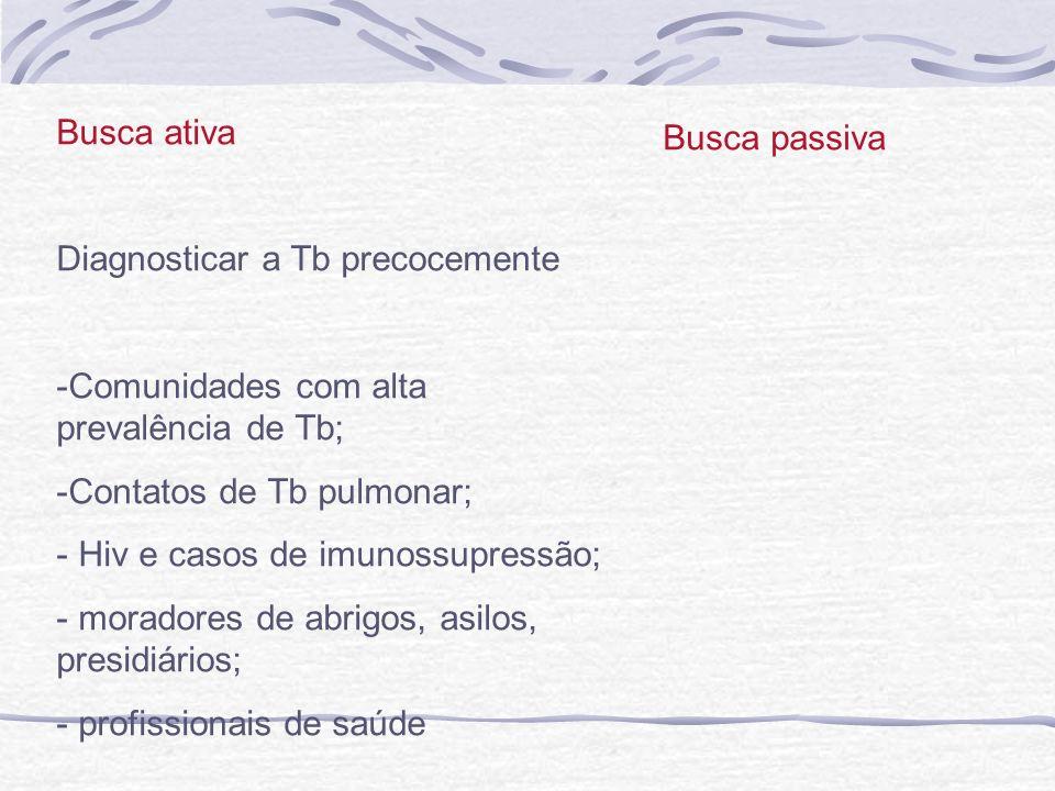 Busca ativa Diagnosticar a Tb precocemente -Comunidades com alta prevalência de Tb; -Contatos de Tb pulmonar; - Hiv e casos de imunossupressão; - mora
