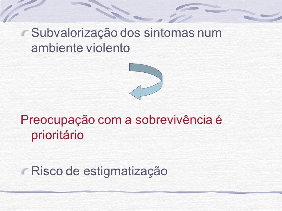 Subvalorização dos sintomas num ambiente violento Preocupação com a sobrevivência é prioritário Risco de estigmatização