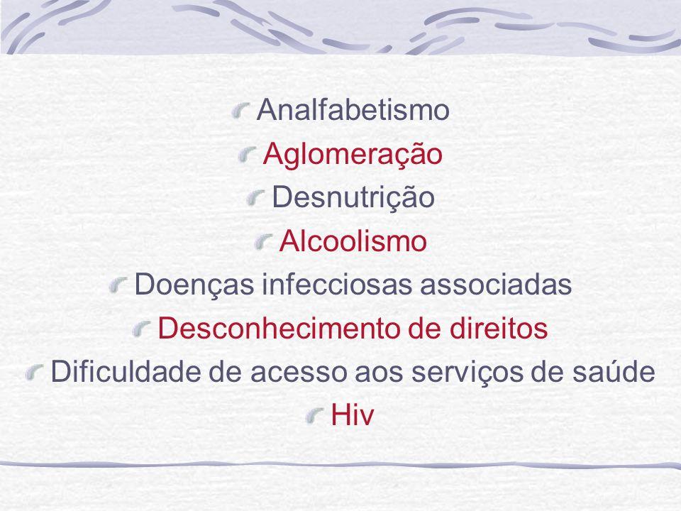 Analfabetismo Aglomeração Desnutrição Alcoolismo Doenças infecciosas associadas Desconhecimento de direitos Dificuldade de acesso aos serviços de saúd