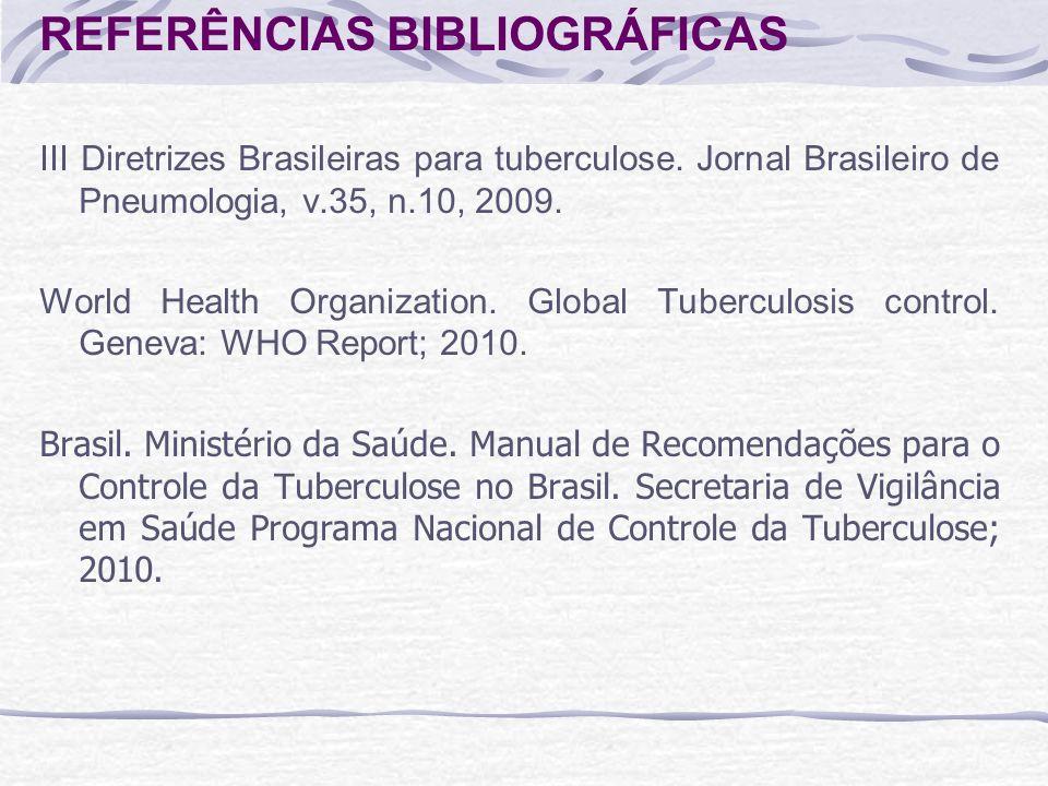 REFERÊNCIAS BIBLIOGRÁFICAS III Diretrizes Brasileiras para tuberculose. Jornal Brasileiro de Pneumologia, v.35, n.10, 2009. World Health Organization.