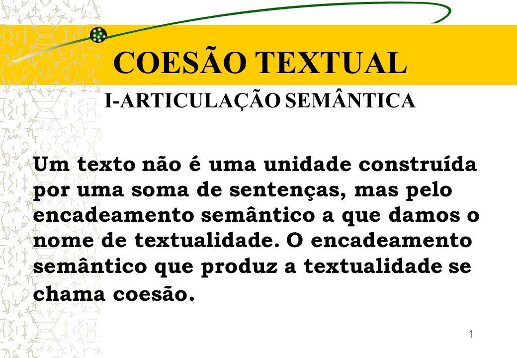 1 COESÃO TEXTUAL I-ARTICULAÇÃO SEMÂNTICA Um texto não é uma unidade construída por uma soma de sentenças, mas pelo encadeamento semântico a que damos